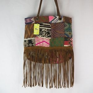 Raj L.A. Anthropologie Patchwork Fringe Bag NWT